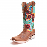 Women's Brown and Turquoise Square Toe Floral Boot by Ariat