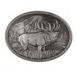 Gunmetal Outdoor Series Wild Elk Carved Buckle by Montana Silversmiths