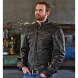 Men's Crazy Horse Leather Jacket with Zip Out Liner by Carroll Companies