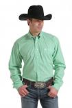 Men's Green Lattice Print Long Sleeve Button Down Shirt by Cinch