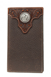 Rodeo Brown Wallet with Tooled Leather Overlay