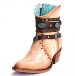 Women's Bone Zipper Studded Harness Ankle Boot by Corral