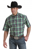 Men's Green and Purple Plaid Short Sleeve Button Shirt Down by Cinch