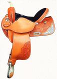 Floral Oak Silver Barrel Saddle by Dakota Saddlery