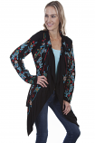 Women's Black Floral Embroidered Jacket by Scully