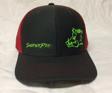 Charcoal, Red and Neon Green Sniper Pig Snapback Hat by Oil Field Hats, LLC