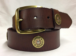 "Men's 1 1/2"" 12 Gauge Brown Leather Belt by Nocona"