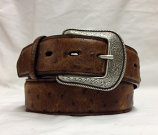 "Men's 1 1/2"" Brown Ostrich Print Dress Belt by 3-D Belt Company"