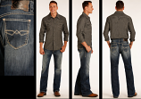 Men's Dark Wash Double Barrel Relaxed Straight Leg Jean by Rock and Roll Cowboy