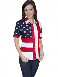 Women's Short Sleeve American Flag Shirt by Scully