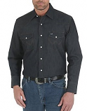 Men's Premium Performance Advanced Comfort Cowboy Cut Long Sleeve Shirt in Denim by Wrangler