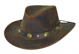 Crackled Golden Brown Leather Hat by Bullhide Hat Co.