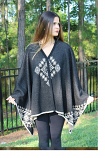 Women's Baby Alpaca Cape with Geometric Embellished Design by Peruvian Perfection