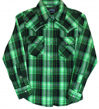 Girls' Crystal Barbwire Lime Plaid Snap Shirt BY Cowgirl Hardwear