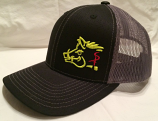 Black and Yellow Sniper Pig Snapback Hat by Oil Filed Hats, LLC