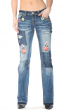 Women's Floral Accent Easy Fit and Junior Fit Jeans by Grace in LA