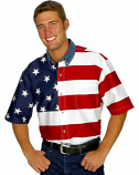 Men's Short Sleeve American Flag Shirt by Roper Clothing