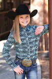 Kid's Black and Teal Long Sleeve Print Shirt by Cruel Girl