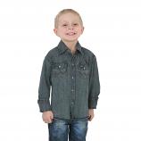 Boy's Antique Blue Denim Work Shirt by Wrangler