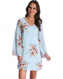 Women's Blue Floral Print Peasant Sleeve Dress by Wrangler