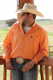 Men's Coral Long Sleeve Button Down Shirt by Cinch
