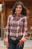 Women's Long Sleeve Coral and Burgundy Plaid Shirt by Cruel Girl
