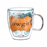 Cowgirl Glass Mug 12oz by Evergreen