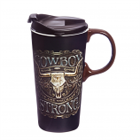 Cowboy Strong Ceramic Travel Cup 17oz. by Evergreen