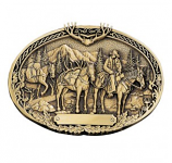 Pack Horses and Rider Brass Heritage Attitude Belt Buckle by Montana Silversmiths