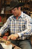Men's Blue Plaid Plain Weave Shirt by Miller Ranch