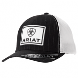 Men's Black and White Pinstripe Patch Ball Cap by Ariat
