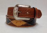 Men's Basket Weave Patchwork Belt by 3-D Belt Company