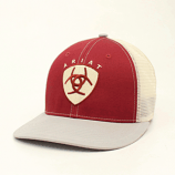 Men's Maroon and Gray Shield Ball Cap by Ariat