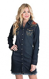 Women's Rodeo Quincy Dark Denim Shirt Dress by Wrangler