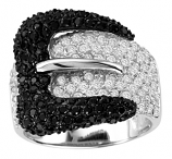 Black and Clear Rhinestone Buckle Ring by Kelly Herd