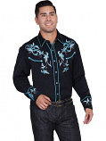 Men's Two Tone Leaf Western Shirt by Scully Leather