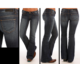 Ladies Dark Wash Low Rise Trouser Jean by Rock&Roll Cowgirl