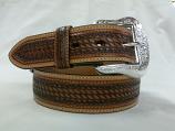 Men's Leather Basket Weave Belt by Western Fashion