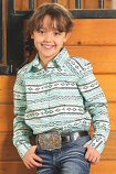Girl's Green Aztec Print Long Sleeve Western Shirt by Cruel Girl