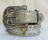 "Kid's 1 1/4"" Angel Ranch Silver Light Up Belt by 3D"