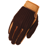 Crochet Riding Glove in Brown by Heritage Gloves