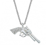 Silver Pistols with Rhinestone Handles Necklace by Montana Silversmiths