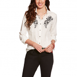 Women's Long Sleeve White with Black Embroidered Chest and Back by Ariat