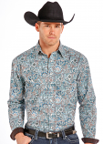 Men's Long Sleeve Printed Poplin Paisley Button Down Shirt by Panhandle Slim