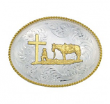 Christian Cowboy Western Belt Buckle by Montana Silversmiths