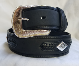 "Men's 1 1/2"" Black Leather Belt with Diamond Conchos by 3D"