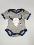 Kid's Gray Steer Feather Bodysuit by Doodle Pants