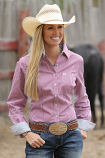 Women's Pink and White Striped Long Sleeve Button Down Shirt by Cinch