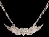 Silver Strike Angel Wing Heart Necklace By 3D Belt Co.