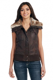 Women's Distressed Zip Front Aviator Vest with Faux Fur Collar by Cripple Creek